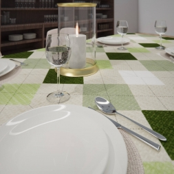 Toalha de Mesa Xadrez Verde Retangular 10 Lugares Sob Medida Piquet