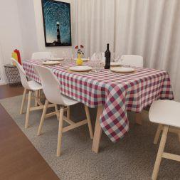 Toalha de Mesa Xadrez Vermelha Retangular 10 Lugares Luxo