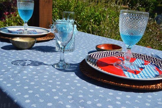 Conjunto Toalha de Mesa Navegar Estampada Azul com 6 Guardanapos