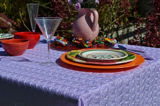 Conjunto Toalha de Mesa Retangular Sweet Violet com 4 Guardanapos