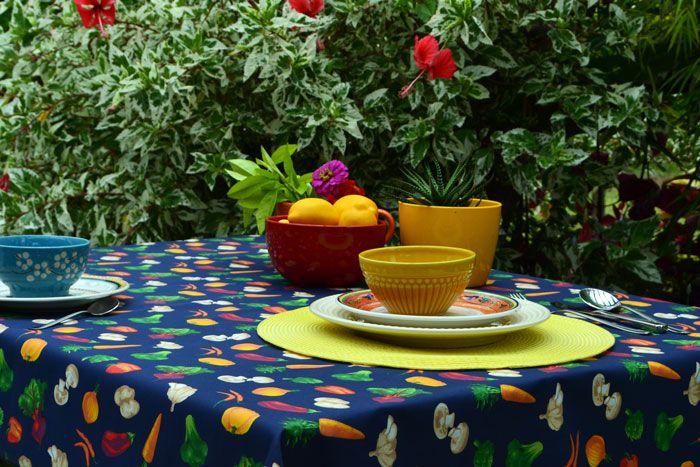Toalha de Mesa Retangular 6 Lugares Azul Vegetais