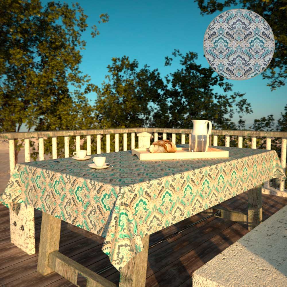 Toalha de Mesa Impermeável Retangular 6 Lugares Mil Arabescos