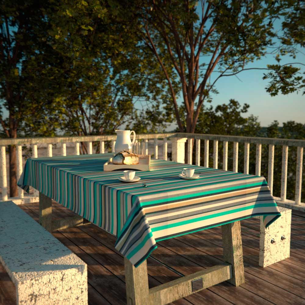 Toalha de Mesa Retangular 8 Lugares Impermeável Listrada Verde