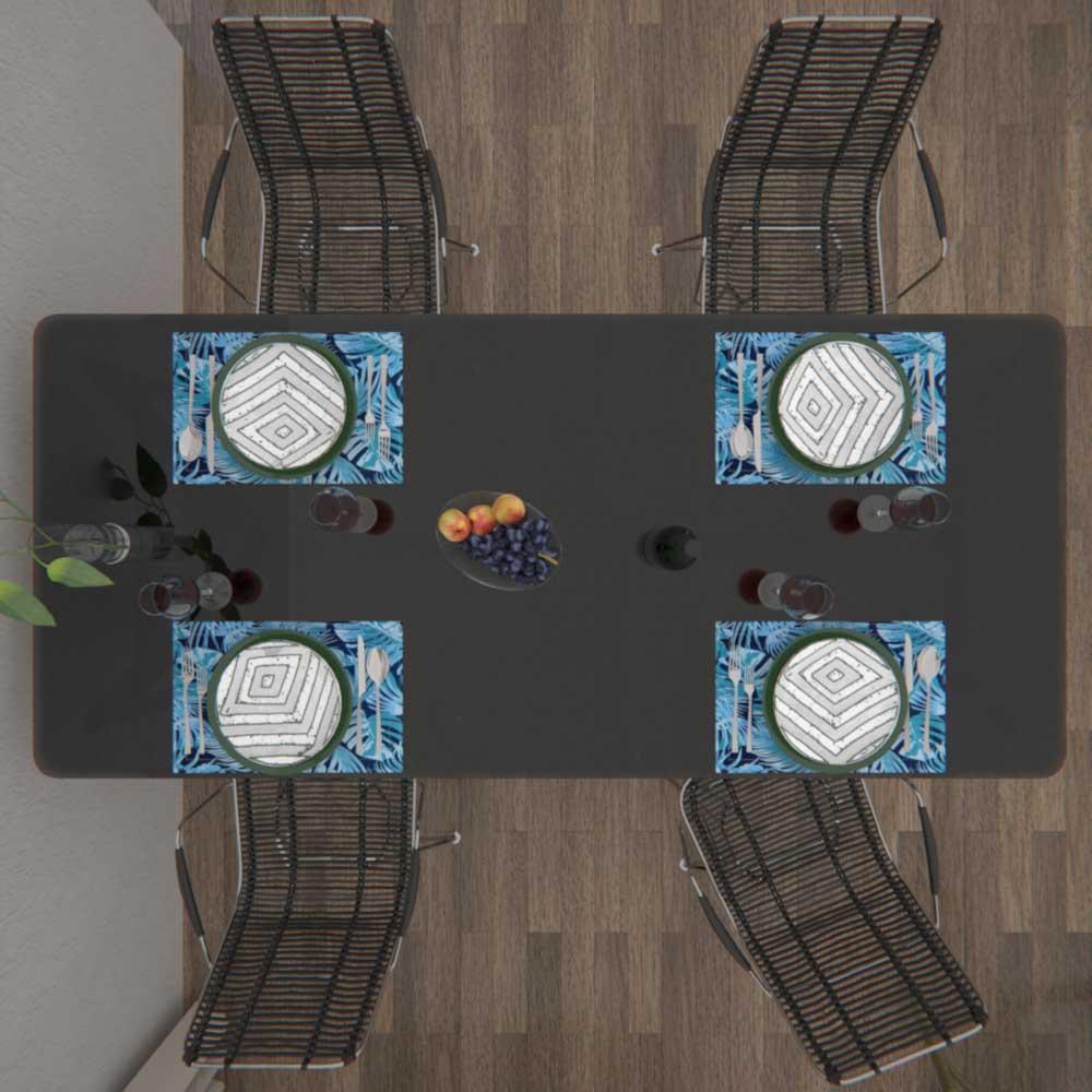 Jogo Americano Azul 8 Peças Dupla Face Costela de Adão