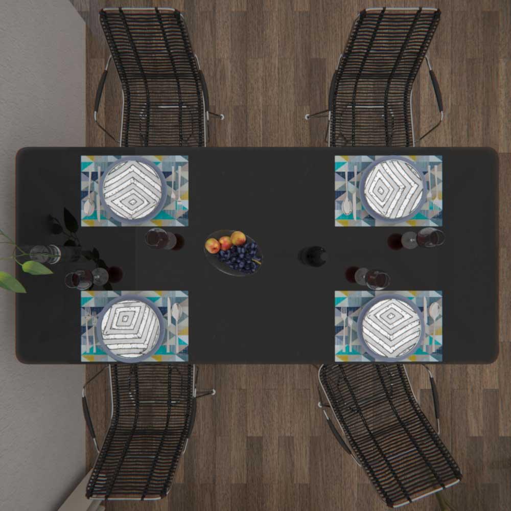 Jogo Americano Impermeável 4 Peças Dupla Face Triângulos