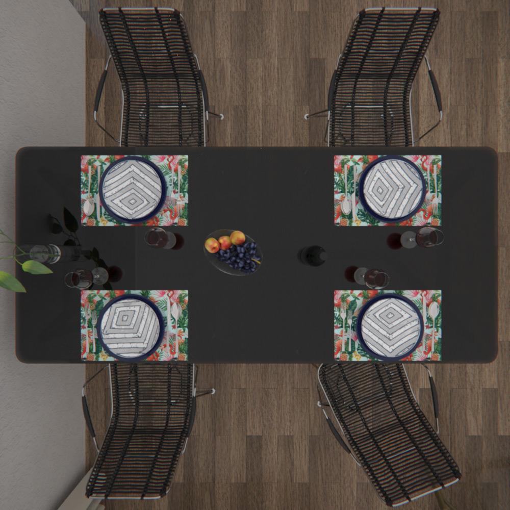 Jogo Americano Impermeável 8 Peças Dupla Face Verde Tropical