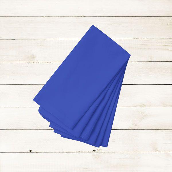 Kit com 12 Guardanapos Azul Escuro Liso de Algodão