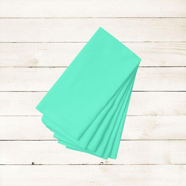 Kit com 12 Guardanapos Lisos Azul Claro de Algodão