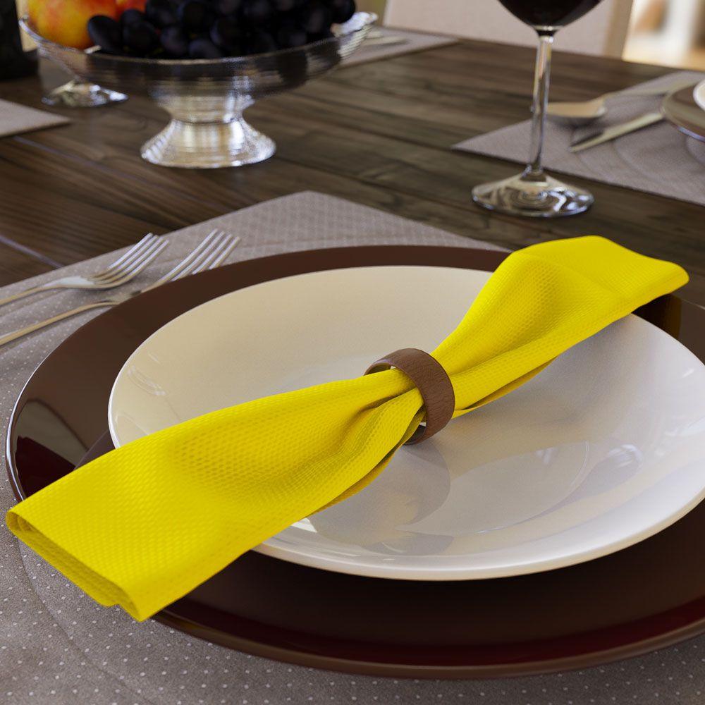 Kit com 20 Guardanapos Amarelo Claro de Oxford