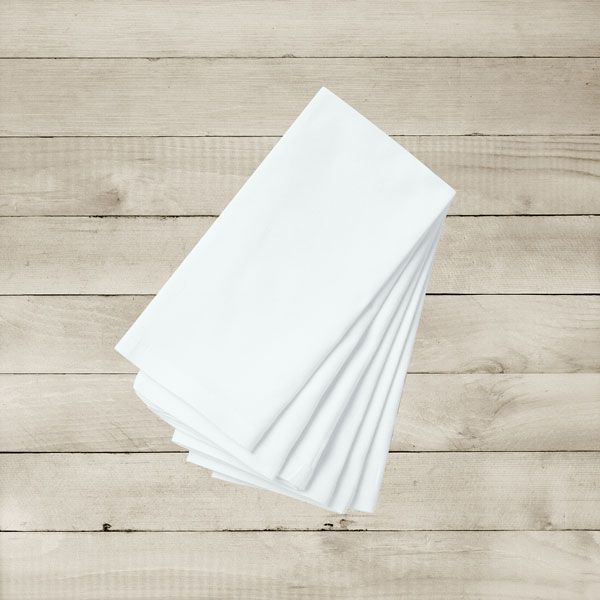 Kit com 20 Guardanapos Brancos Lisos de Algodão