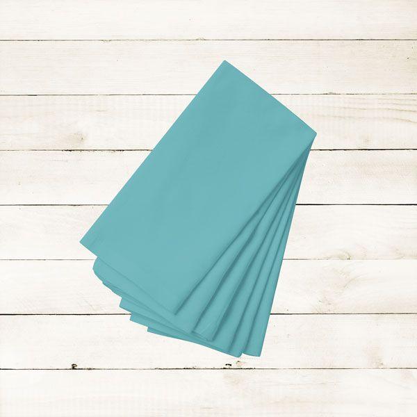 Kit com 20 Guardanapos Lisos Azul Calypso de Algodão