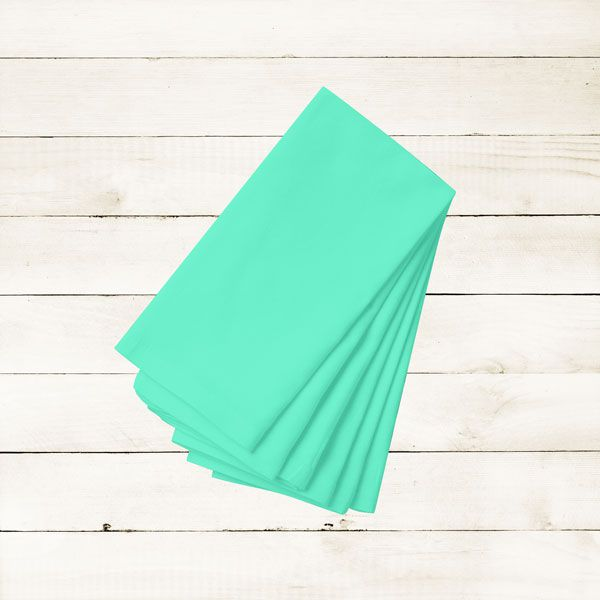 Kit com 20 Guardanapos Lisos Azul Claro de Algodão