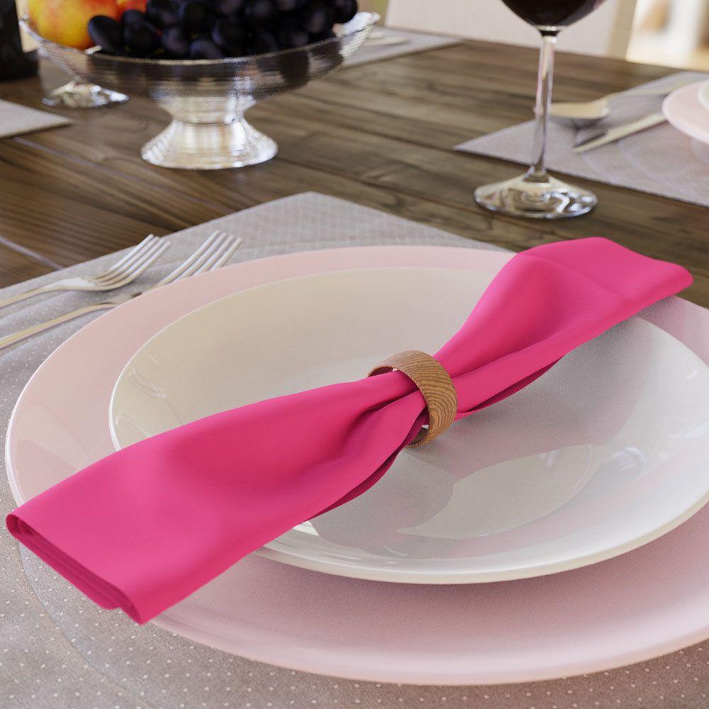 Kit com 20 Guardanapos Lisos Rosa Choque Pink de Algodão