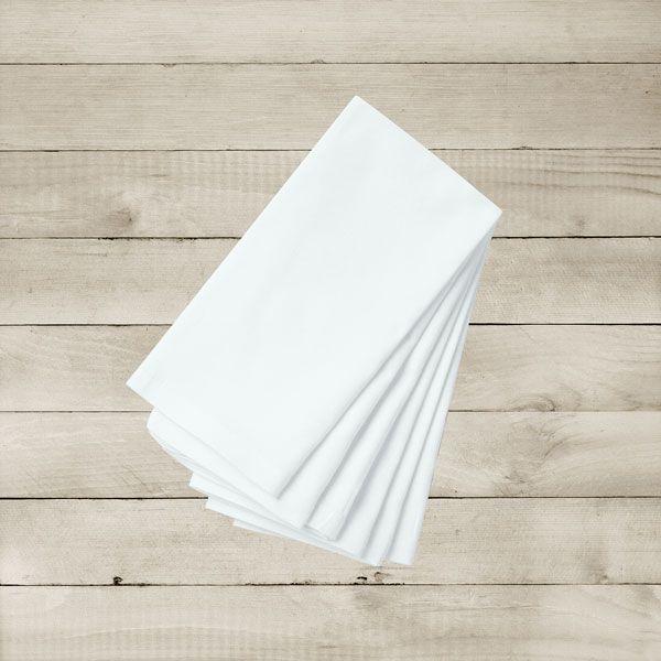 Kit com 6 Guardanapos Brancos Lisos de Algodão