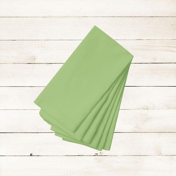 Kit com 6 Guardanapos Lisos Verdes Claros Abacate Avocado de Algodão