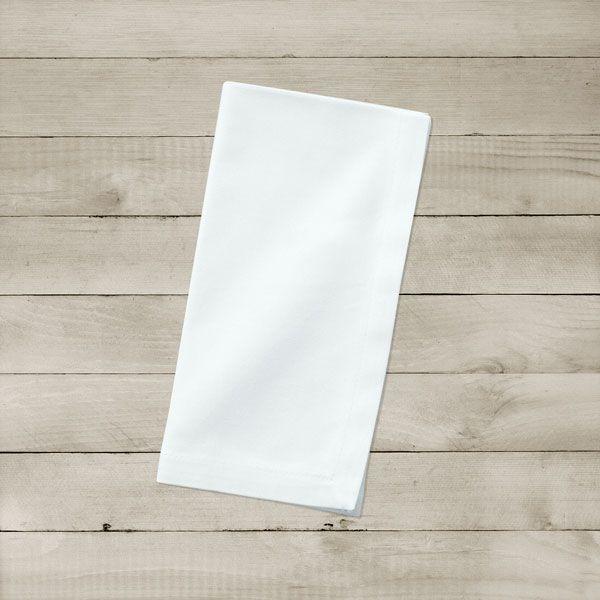 Kit com 8 Guardanapos Brancos Lisos de Algodão
