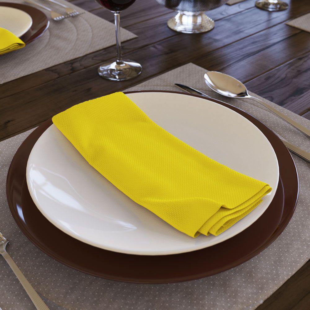 Guardanapos Lisos Amarelo de Tecido Algodão Kit com 8 Unidades