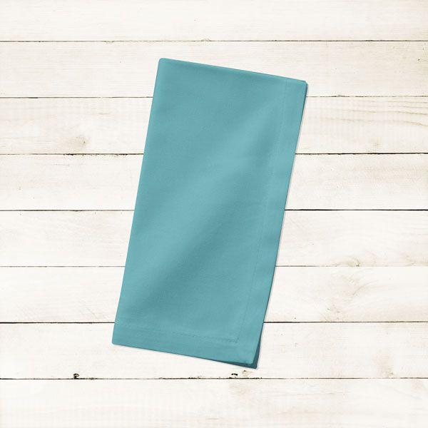Kit com 12 Guardanapos Lisos Azul Calypso de Algodão
