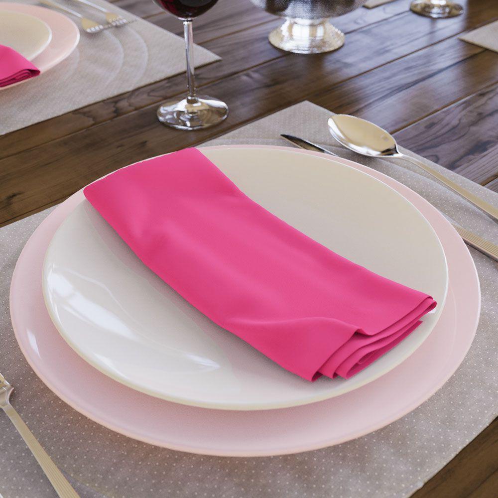 Kit com 8 Guardanapos Lisos Rosa Choque Pink de Algodão