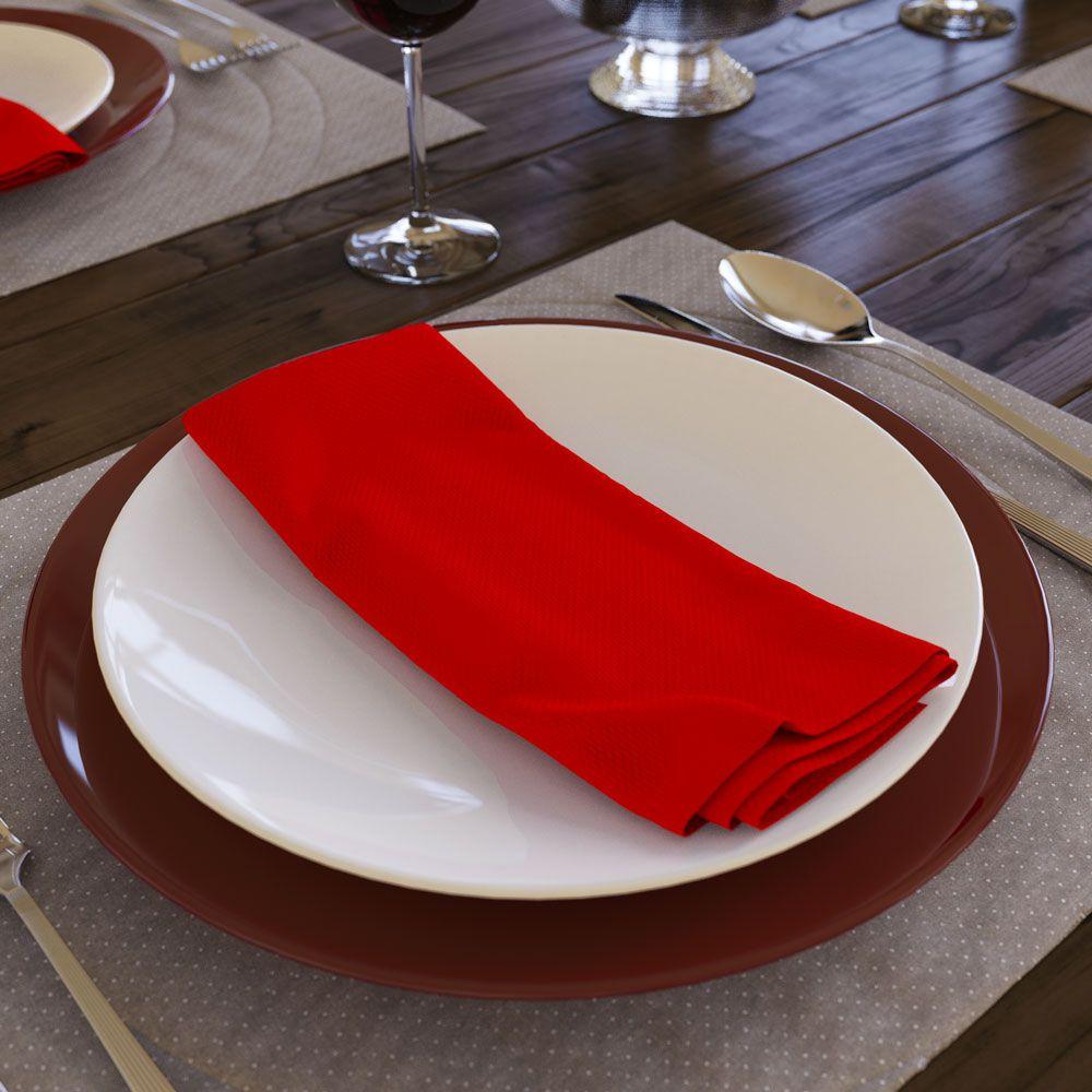 Kit com 8 Guardanapos Vermelho de Tecido Oxford