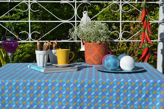 Toalha de Mesa 10 Lugares Azul Pontos Retangular