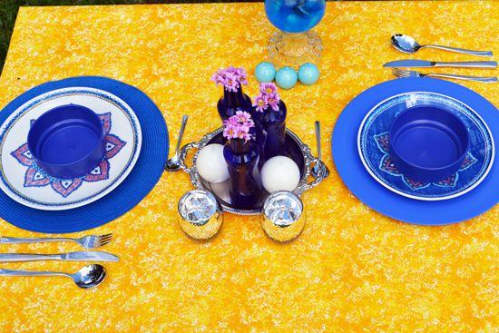 Toalha de Mesa 10 Lugares Retangular Amarela Textura