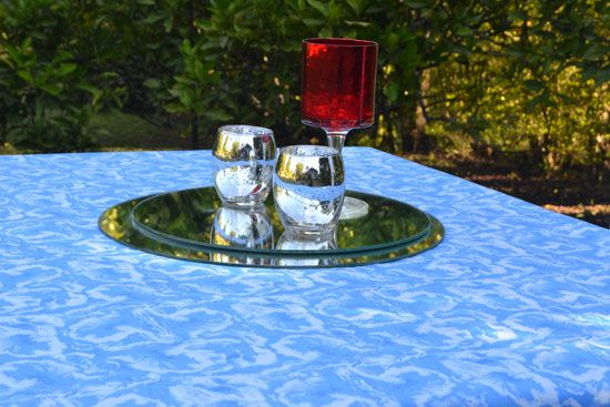 Toalha de Mesa 10 Lugares Retangular Azul Textura