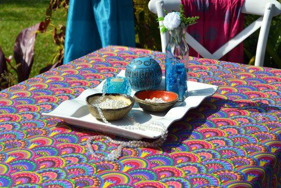 Toalha de Mesa 10 Lugares Retangular Colorida Tailandesa