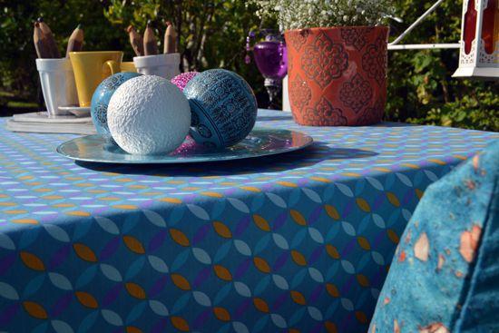 Toalha de Mesa 4 Lugares Azul Pontos Retangular