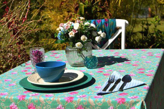 Toalha de Mesa 4 Lugares Verde Floral Fiori