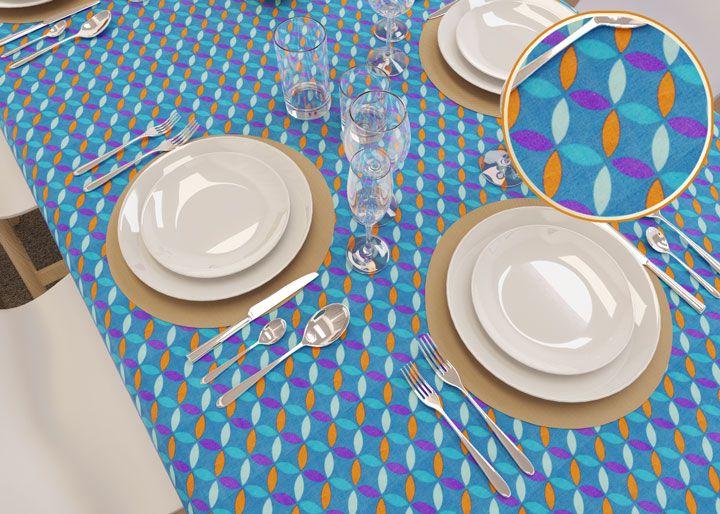 Toalha de Mesa 6 Lugares Azul Pontos Retangular