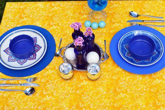 Toalha de Mesa Retangular 8 Lugares Amarela com Textura