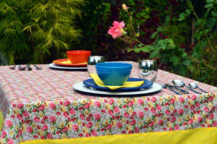 Toalha de Mesa 8 Lugares Retangular Floral Zen com 6 Guardanapos