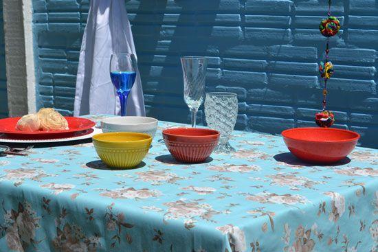 Toalha de Mesa Azul 10 Lugares Retangular Derosa