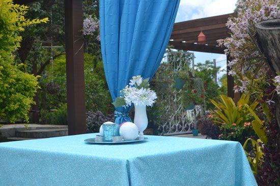 Toalha de Mesa Azul 10 Lugares Retangular Florida