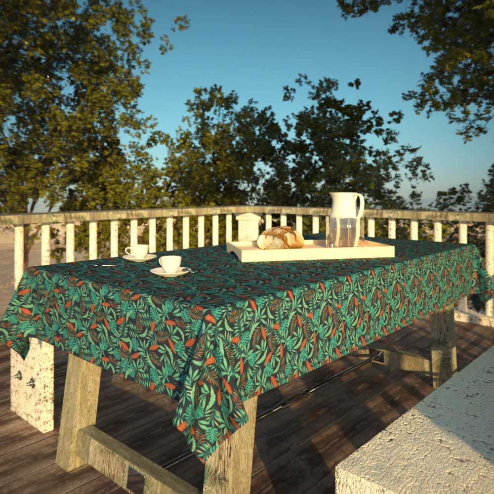 Toalha de Mesa Azul 10 Lugares Retangular Folhagens