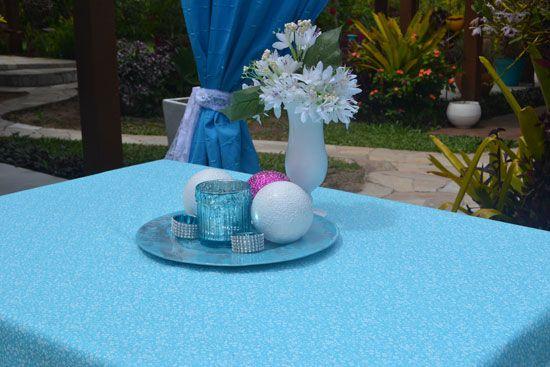 Toalha de Mesa Azul 4 Lugares Retangular Florida