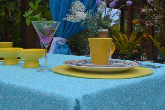 Toalha de Mesa Azul 6 Lugares Retangular Florida
