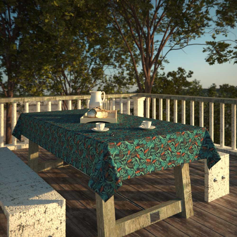 Toalha de Mesa Azul 6 Lugares Retangular Folhagens