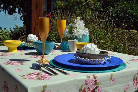Toalha de Mesa Azul 8 Lugares Floral Délicatesse
