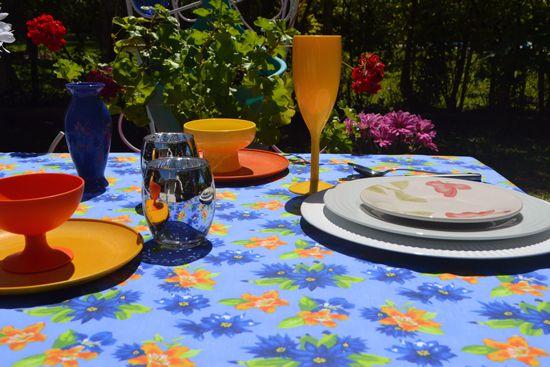 Toalha de Mesa Azul Floral 10 Lugares Retangular Florisbela