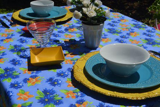 Toalha de Mesa Azul Floral 4 Lugares Quadrada Florisbela