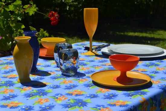 Toalha de Mesa Azul Floral 4 Lugares Retangular Florisbela