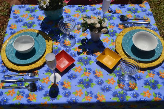Toalha de Mesa Azul Floral 6 Lugares Retangular Florisbela