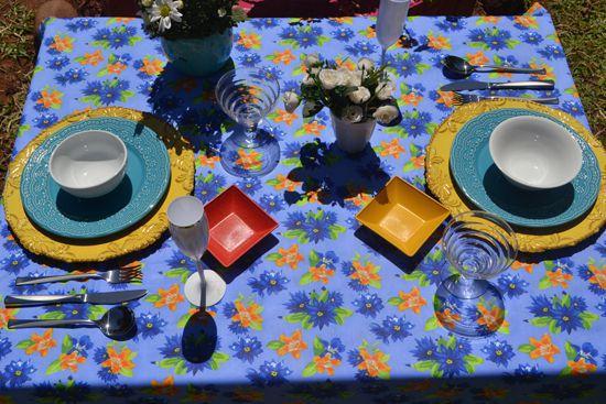 Toalha de Mesa Azul Floral 8 Lugares Retangular Florisbela