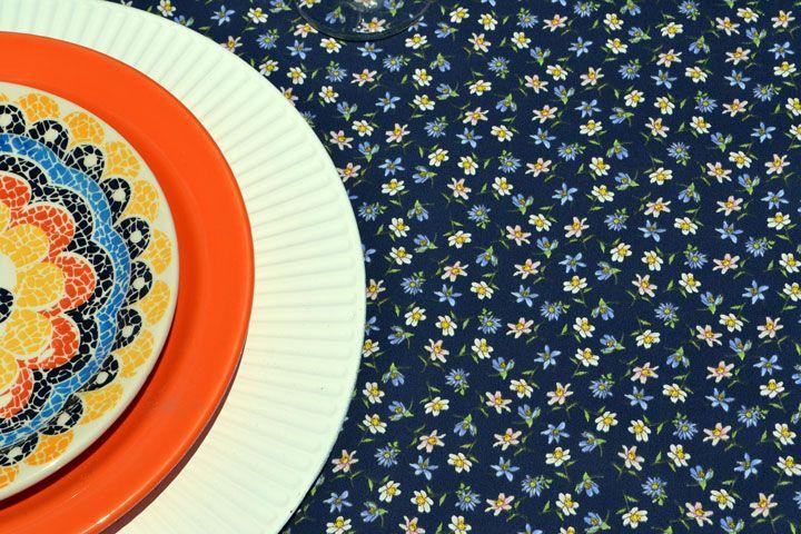 Toalha de Mesa Azul Quadrada 4 Lugares Floral do Campo