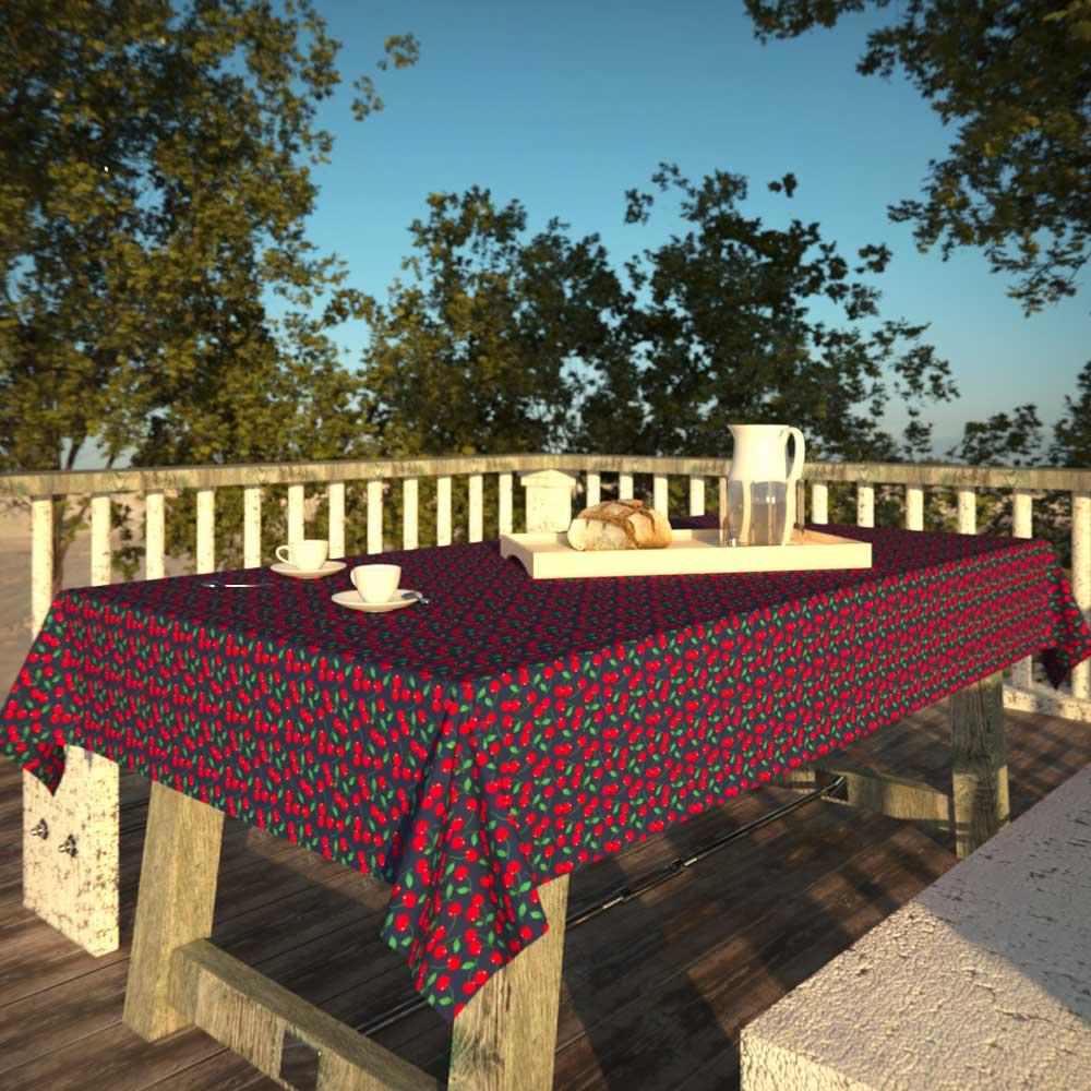 Toalha de Mesa Azul Retangular 4 Lugares com Cerejas