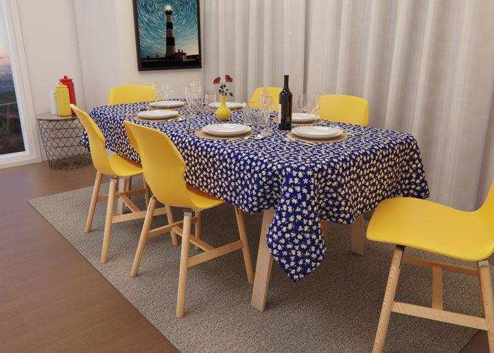 Toalha de Mesa Azul Retangular 6 Lugares Floral do Campo