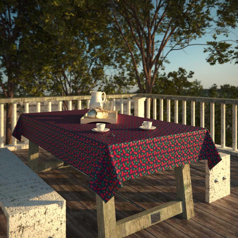 Toalha de Mesa Azul Retangular 8 Lugares com Cerejas