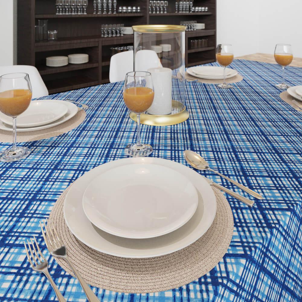 Toalha de Mesa Azul Retangular 8 Lugares Mil Listras